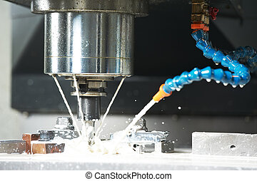 milling the metal blank with coolant - End-tooth vertical...