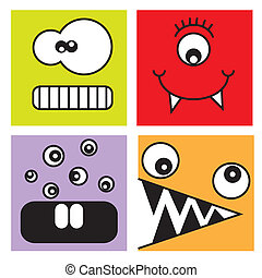 Funny stickers monsters