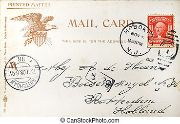 Vintage american postcard of 1908 - Vintage postcard with...