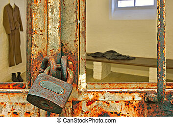 Looking into locked prison cell