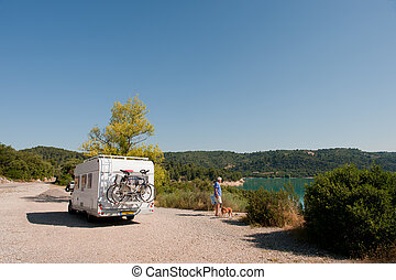 With mobile home in France - With mobile home at lake de...