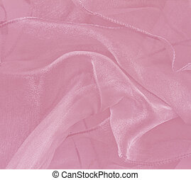 Pink sheer folded fabric background