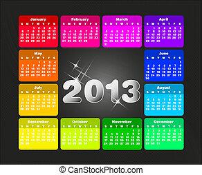 coloré, calendrier, 2013