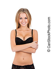 sexy blonde woman in black lingerie - sexy girl smile wear...