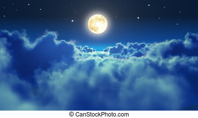 Flying over the clouds in the night with the moon. Seamless...
