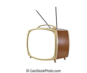 Vintage Blank ScreenTelevision with Brown Vinyl Side
