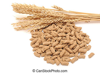 Wheat bran with ear on white background