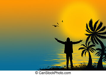 tropical silhouette - Silhouette of a man with palm trees...