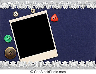 Retro background or greeting card with old photo and lacy border