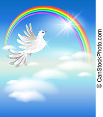 Pigeon and rainbow - Pigeon flies to the rainbow in the...
