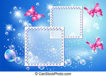 Design photo frames with bubbles and butterfly