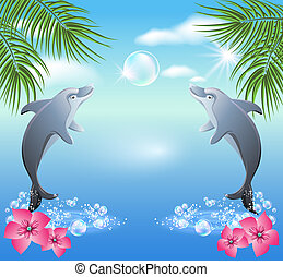 Dolphins leaps from water on the background of clouds and...
