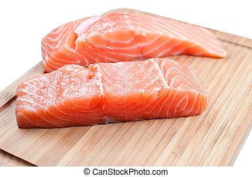 Salmon on woode board - Salmon fish on woode board