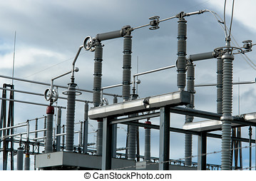 Industrial Electricity Conductors - Close up of Industrial...