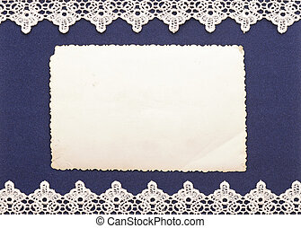 Retro background or greeting card with old photo and lacy...