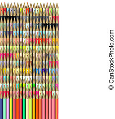 isometric 3d render of pencil in different color