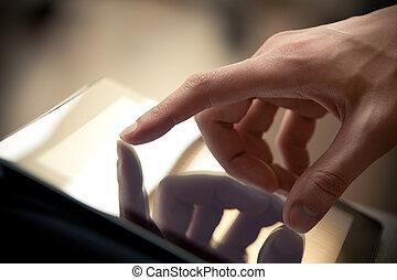 Touching Screen - Man hand touching screen on modern digital...