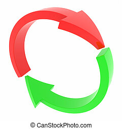 Red and green arrows. Cycle. Computer generated image.
