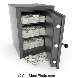 Open bank safe with dollars inside.