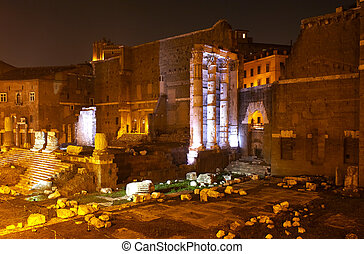Forum of Augustus, Rome - View of Roman Forum, Forum of...