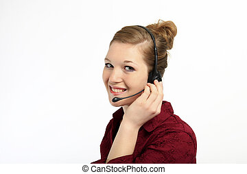 Pretty female customer service rep