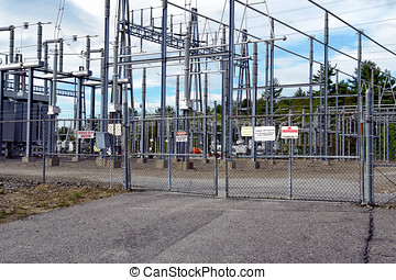 Locked Gate to Substation - Locked chain linked fence and...