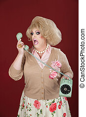 Upset Drag Queen on Phone - Emotional queen screams at a...