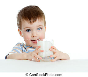 little child drinking yogurt or kefir over white - baby...