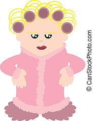 Woman with Curlers - Cartoon woman with curlers in her hair....