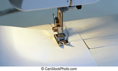 white sewing machine close up