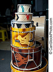 drums in the market of Otavalo - drums in the colorful...