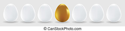 One gold egg and white easter eggs