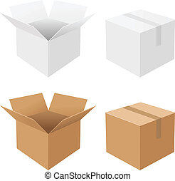 Boxes Set - 4 Boxes, Isolated On White Background, Vector...