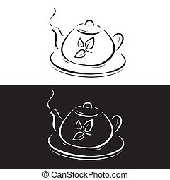 teapot with leaves symbol isolated on black and white