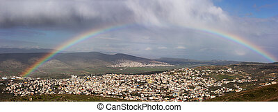 rainbow over Cana of Galilee - rainbow over the Arab village...