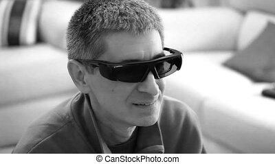 Man Watching 3D Movie - Black and White - Black White video...