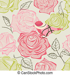 Retro floral and bird seamless pattern