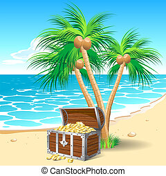 Treasure - Pirates treasure chest on a tropical beach with...
