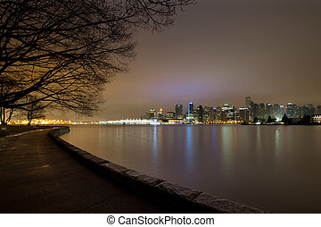 Vancouver BC Stanley Park Seawall at Dawn - Vancouver BC...