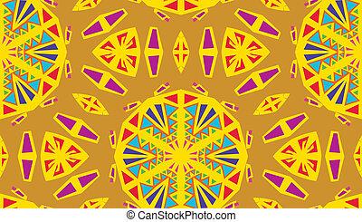 Yellow Kaleidescope Pattern - Seamless yellow and purple...
