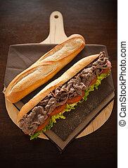 Baguette beef meat - Beef meat sandwich with baguette bread...