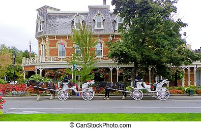 Carriages with horses scenic - Tourist rides awaiting in...