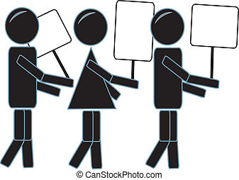 Simple Stick Figures Protesting - simple drawing of three...