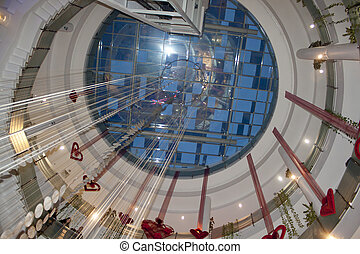 Circular multilevel interior in a shopping mall