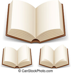 Open book with white pages Illustration on white background