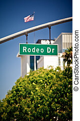 Rodeo Drive sign in affluent Beverly Hills California