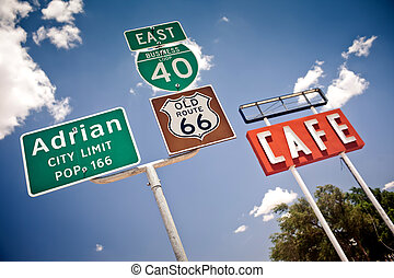 Route 66 intersection signs in Adrian, Texas