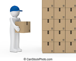man hold package - little man with blue cap hold package