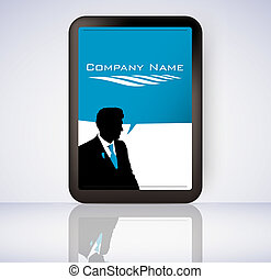 Business man screen tablet computer with logo vector