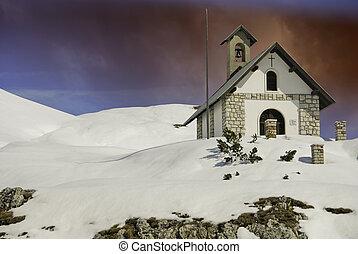Small Church on Dolomites near Misurina, Italy